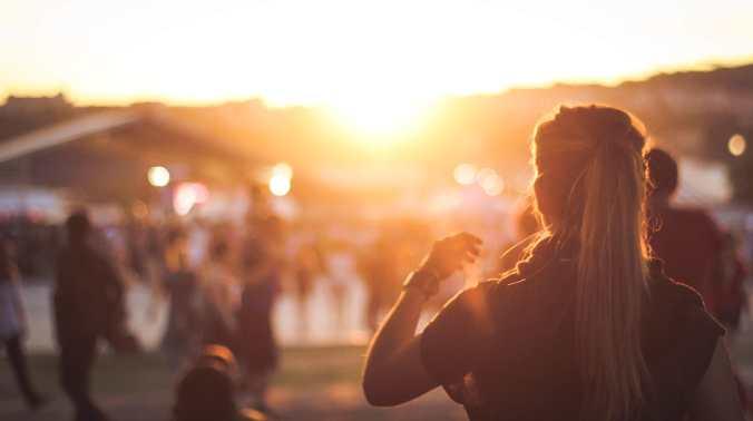 girl ponytail sunset