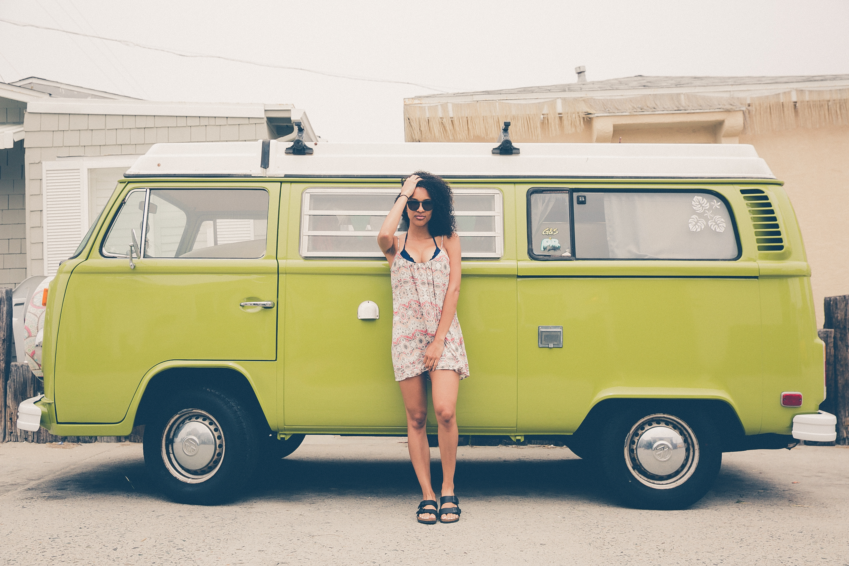 girl in front of van